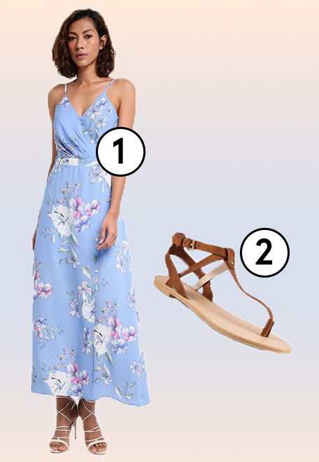 1.  MDSCollections Crocus Wrapped Dress In Periwinkle , 2.  ZALORA T-Strap Microfiber Sandals
