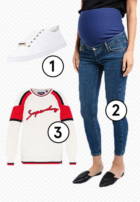1.  ALDO Merane-N Sneakers , 2.  TOPSHOP Maternity Green Cast Jamie Jeans , 3.  Superdry Preppy Blocked Knit Pullover