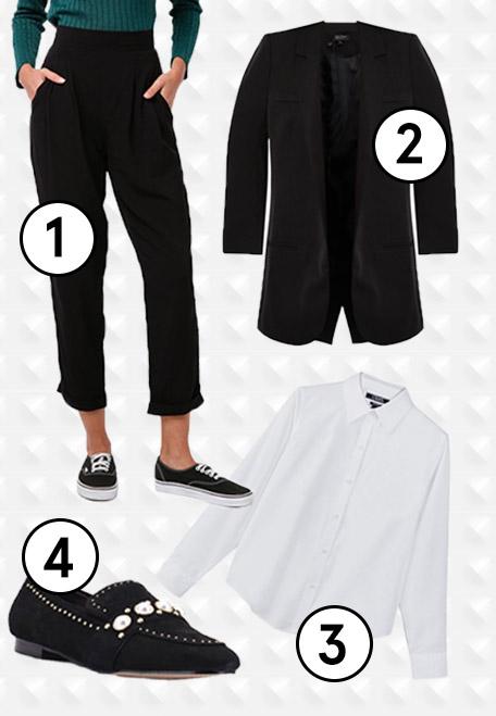 1.  Cotton On Kali Drapey Pants , 2.  ZALORA Long Blazer , 3. Chaps Non-Iron Broadcloth Shirt , 4.  Carvela KG Leighton Loafers