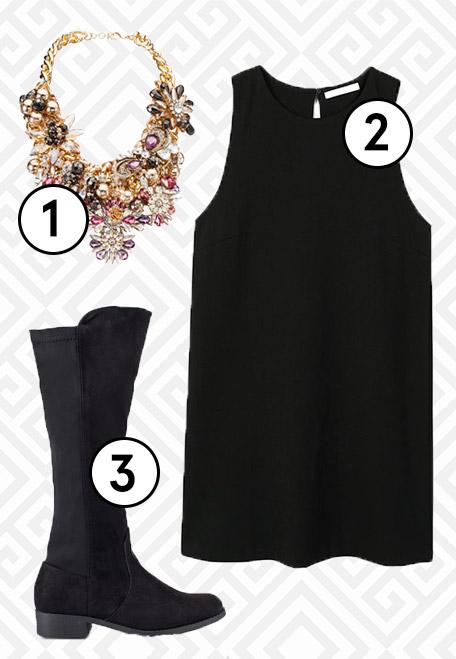 1.  ALDO Edealian Necklace  , 2.  Mango Shift Dress , 3.  ZALORA Riding Boots