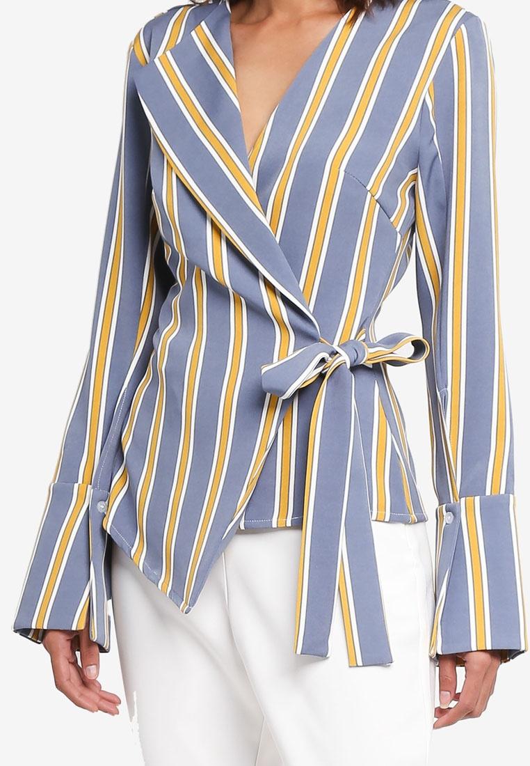 LAVISH ALICE Asymmetric Satin Shirt