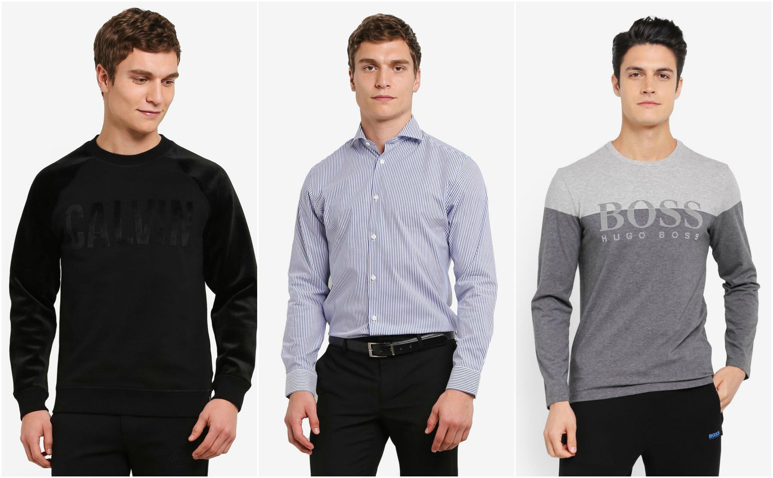 1. Hego 1 Crew Neck Knit Sweatshirt - Calvin Klein Jeans , 2.  SELECTED HOMME Shdonesel-Mon Shirt , 3.  BOSS Togn 2 T-Shirt