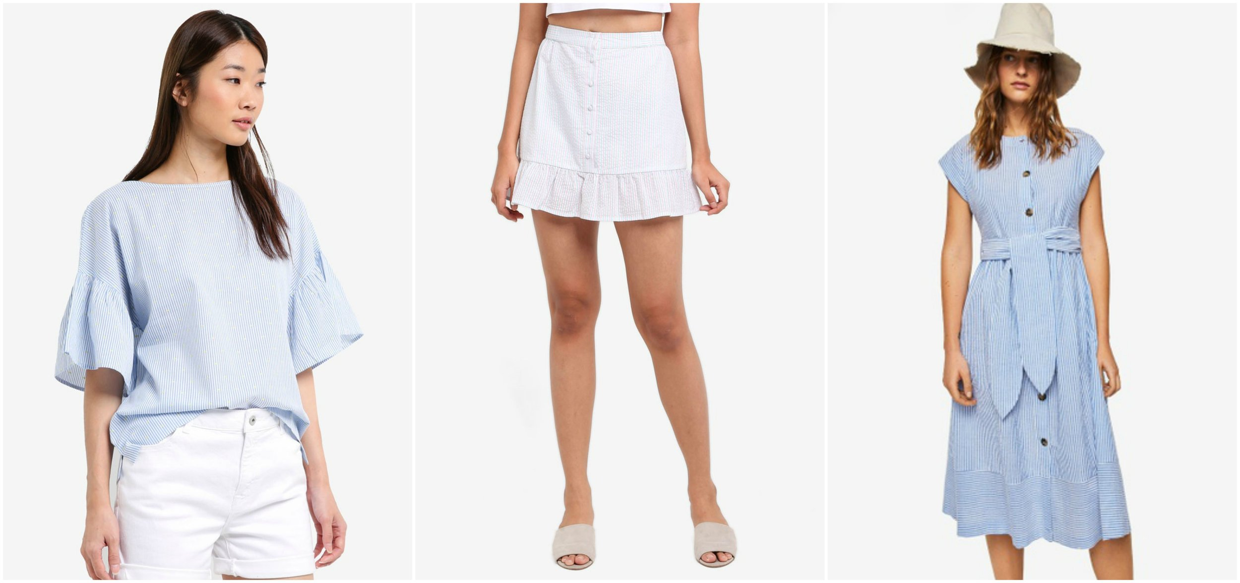 ESPRIT Woven Short Sleeve Blouse  ,  SOMETHING BORROWED Button Down Flare Mini Skirt , MANGO Stripe Textured Dress