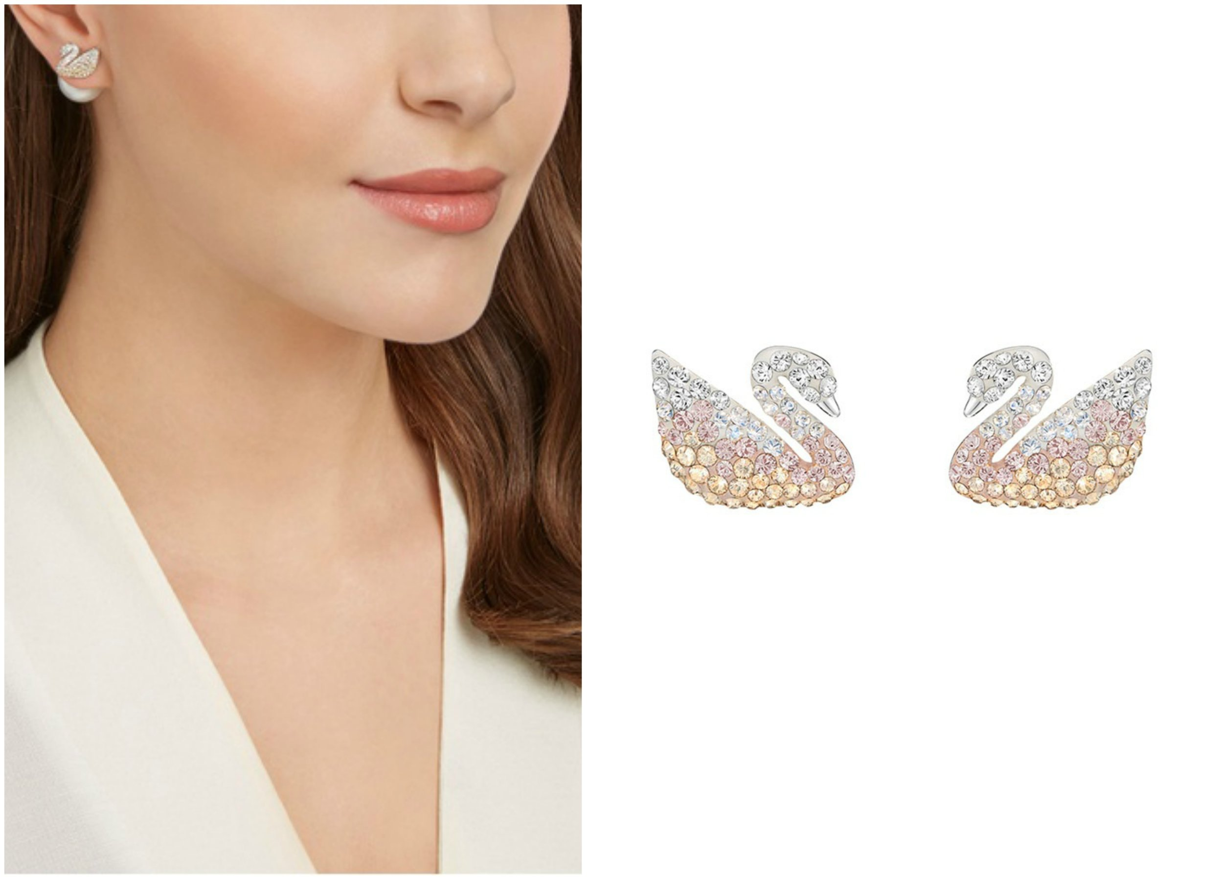 SWAROVSKI Iconic Swan Pendant Earrings