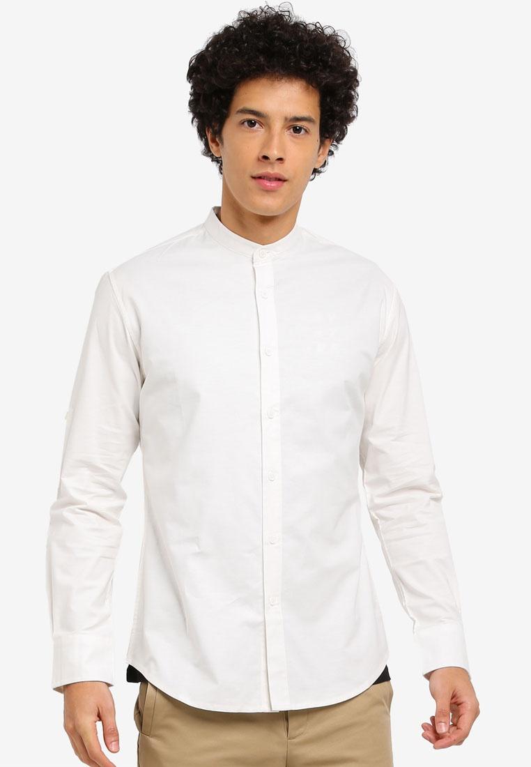 ZALORA Mandarin Collar Oxford Shirt