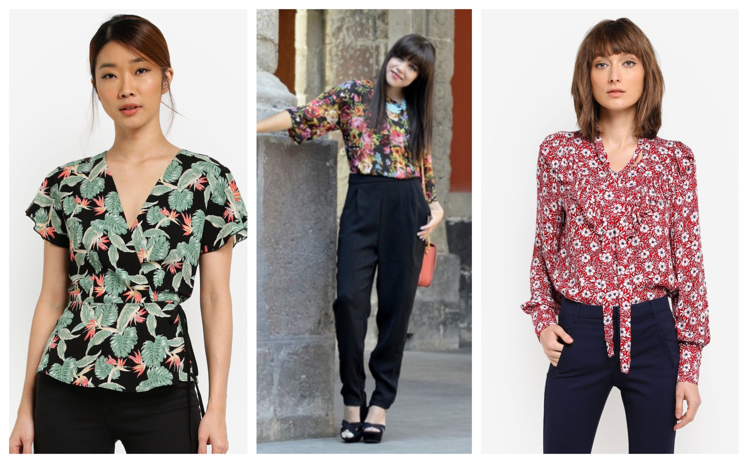 Left:  Something Borrowed Flutter Sleeve Top , Right: M ango Ruffles Printed Blouse