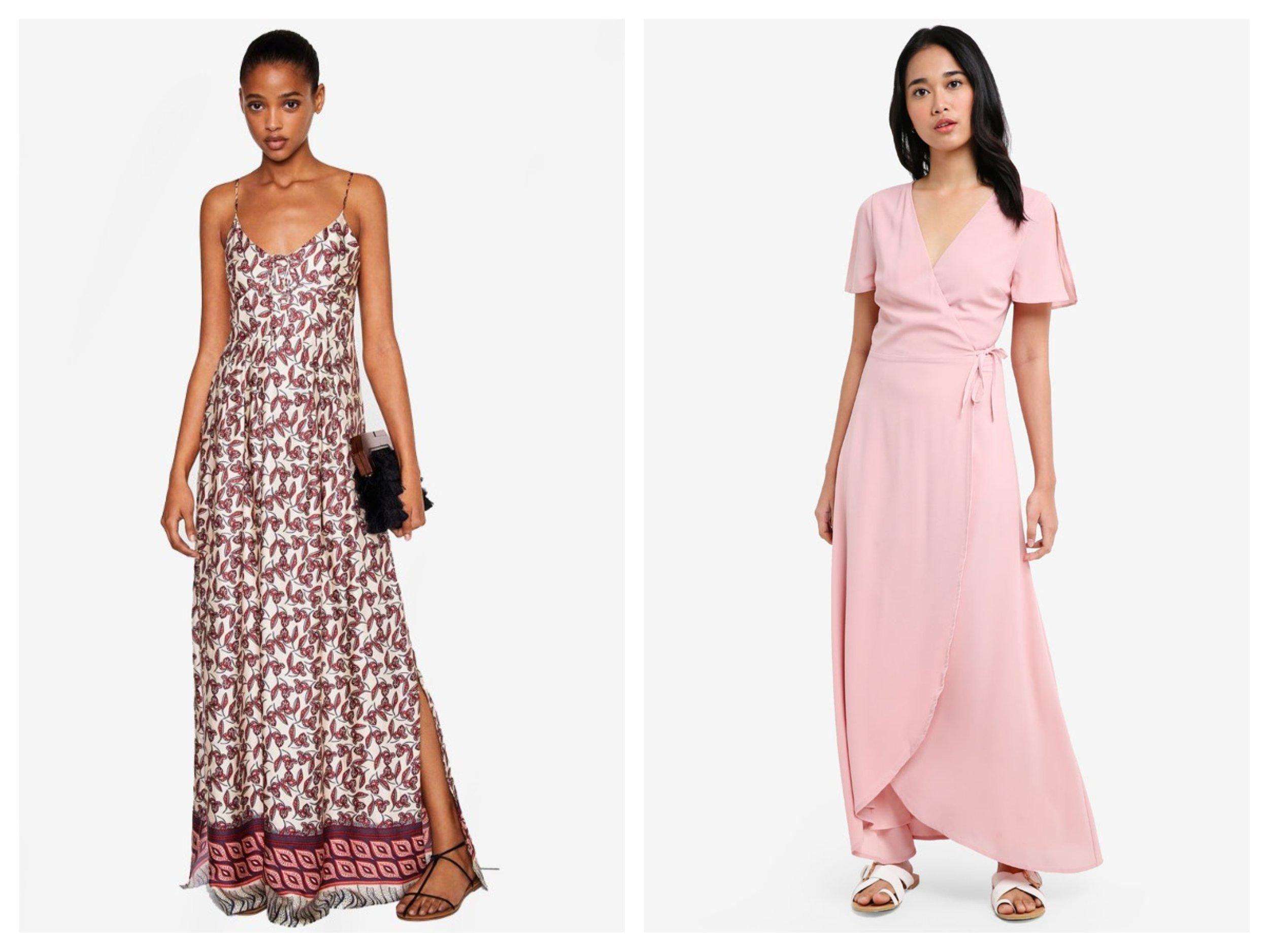 MANGO Contrasting Print Dress  ,  Something Borrowed Slit Sleeve Wrap Maxi Dress