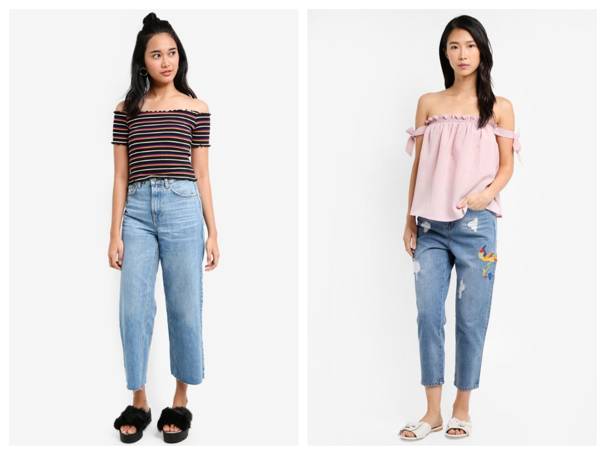 Something Borrowed Rib Knit Off Shoulder Bodycon Top | ZALORA Off Shoulder Top With Straps & Embroidered Boyfriend Jeans