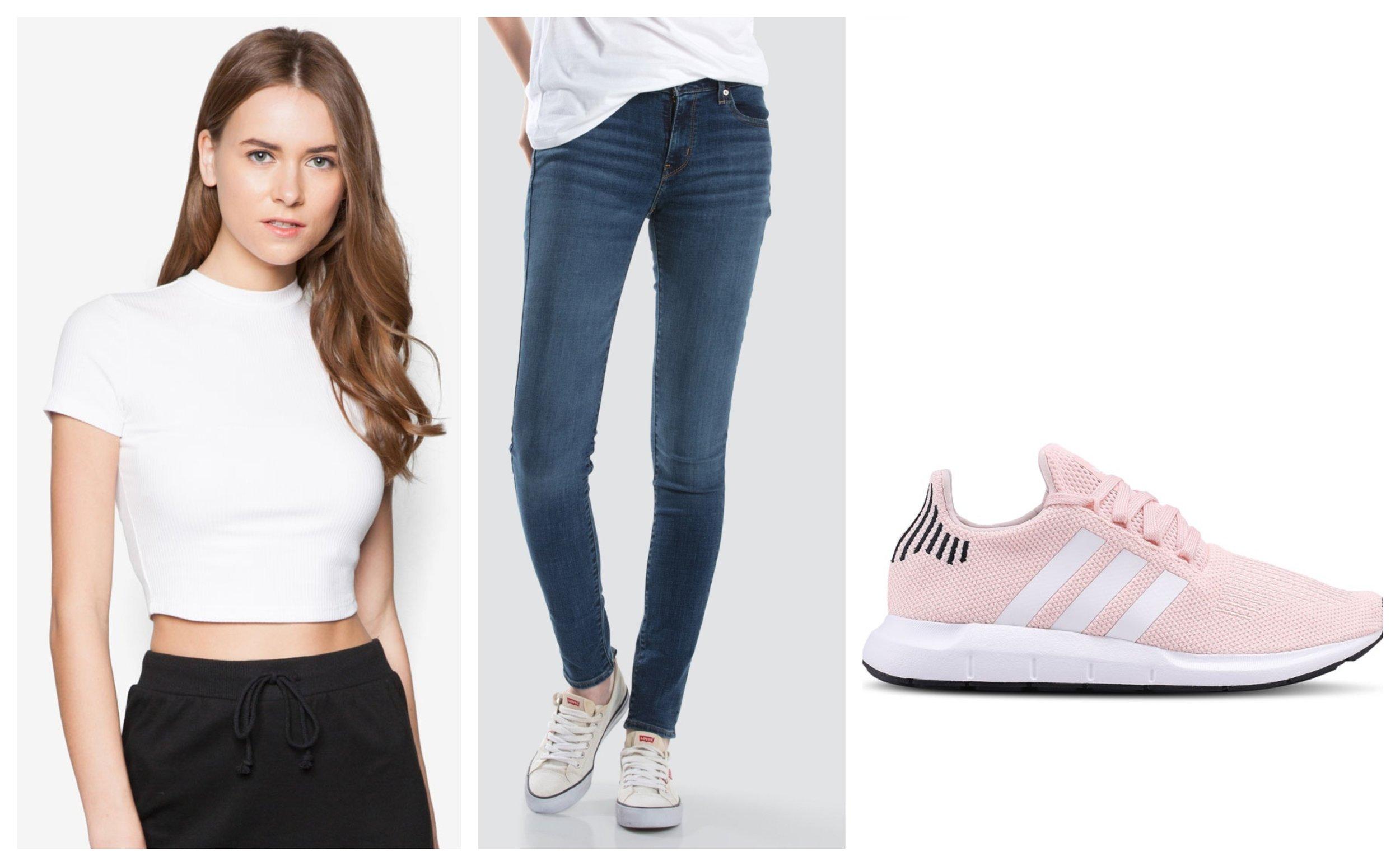 ZALORA Basic Ribbed High Neck Tee  I  Levi's 711 Skinny Jeans Women I  Adidas Originals Swift Run Sneakers