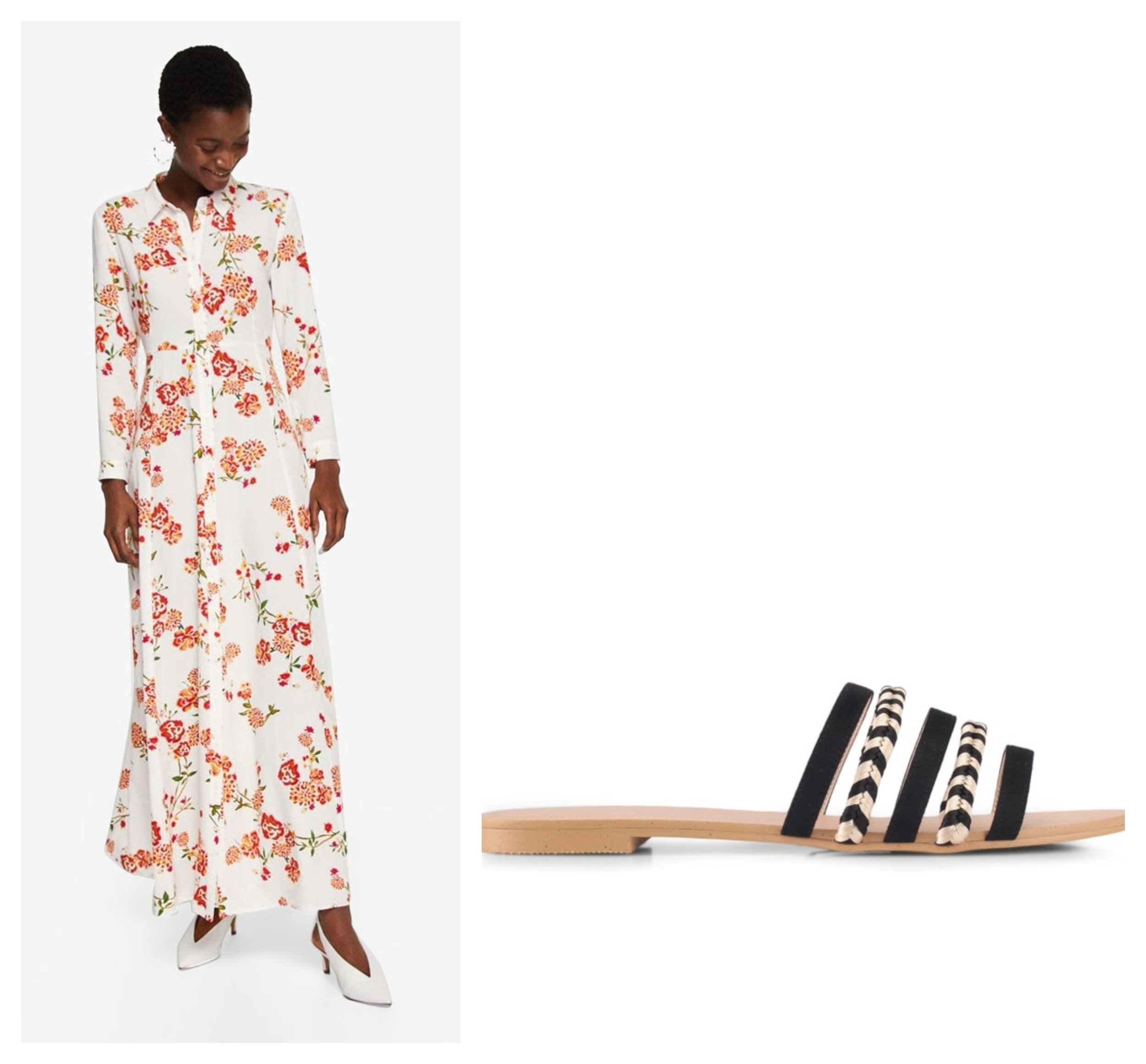 MANGO Floral Print Long Dress  I  ZALORA Multi Front Straps Sliders