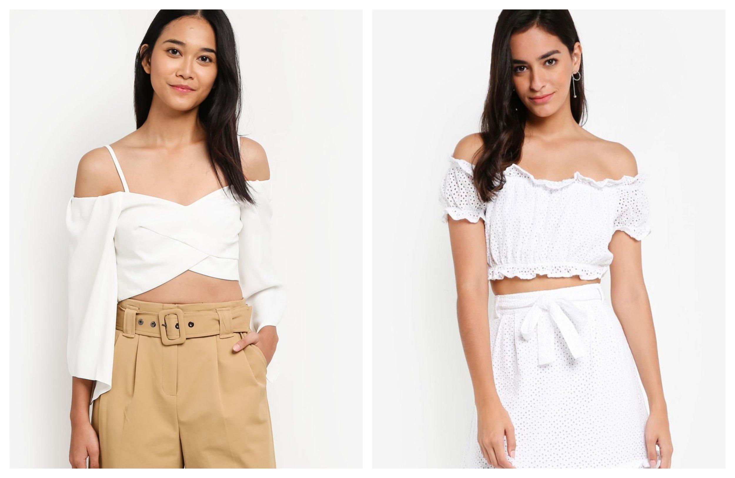 Topshop Angel Sleeve Zip Bardot Top | Vero Moda Anna Off Shoulder Crop Top