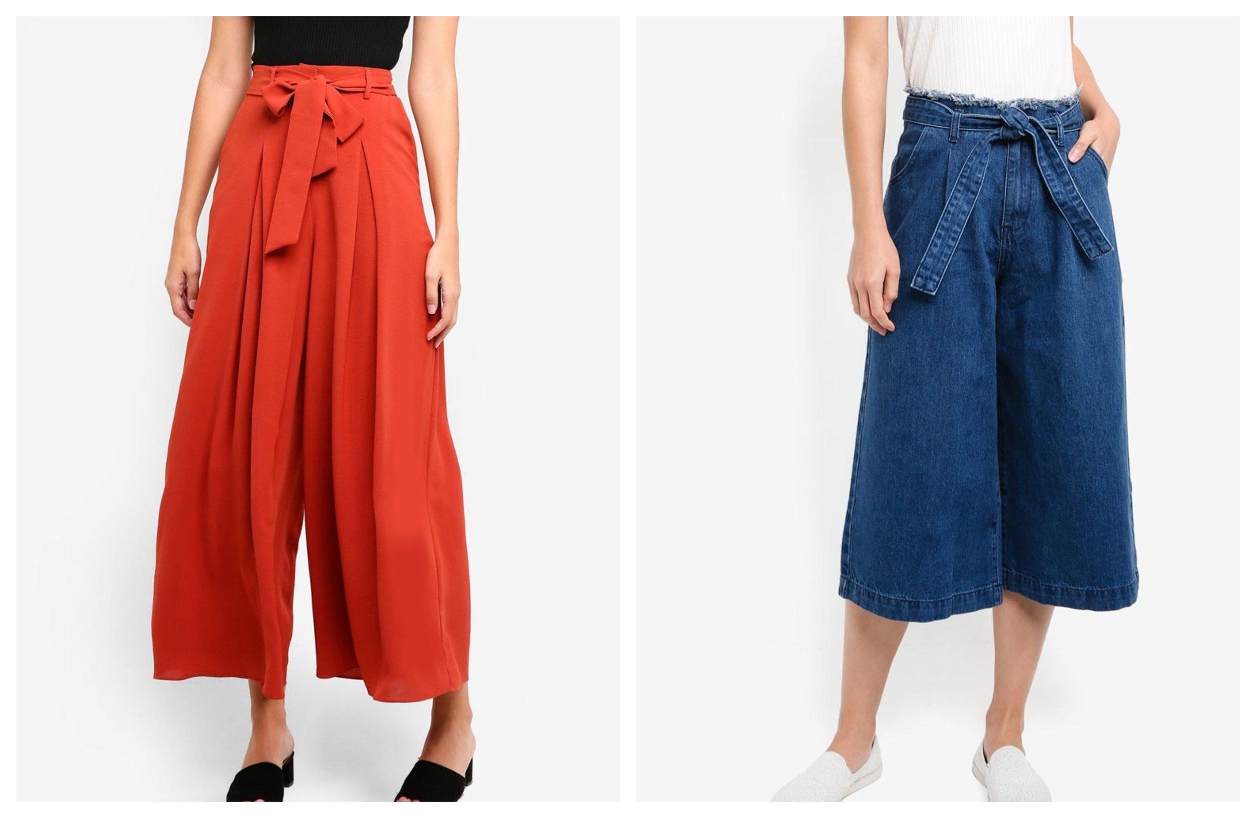ZALORA High Waisted Pleat Front Trousers |  ZALORA High Waist Wide Leg Cropped Jeans