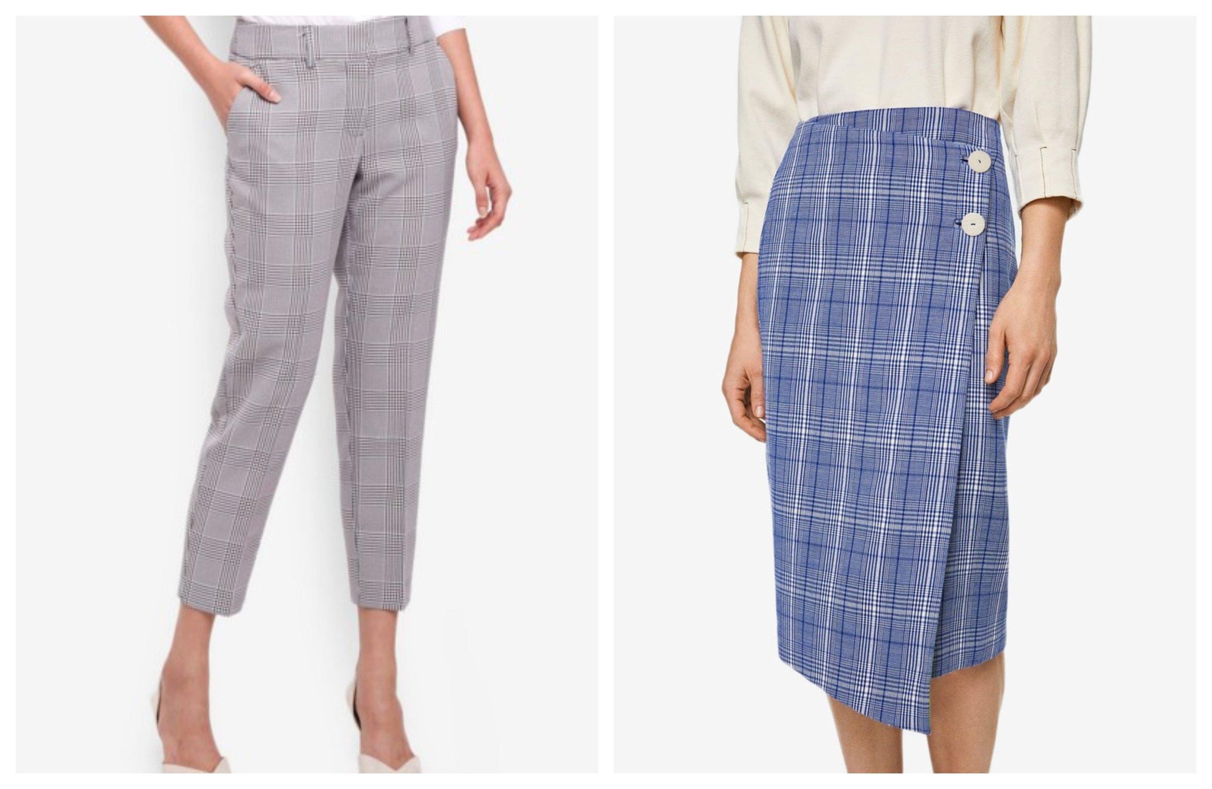Dorothy Perkins Black/Port Check Ankle Grazer Pants  I  Mango Check Wrap Skirt