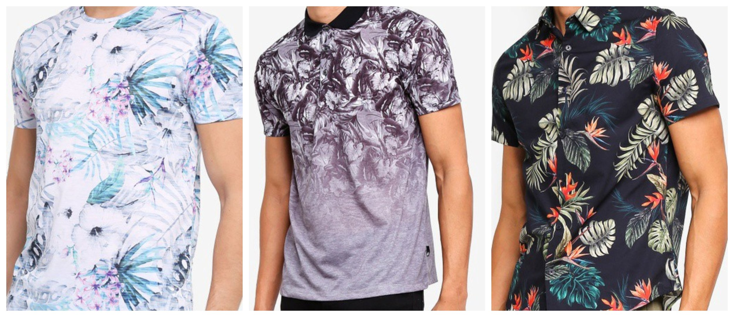 Pink And Aqua Floral All-Over Print T-Shirt   Charcoal Monochrome Floral Fade Polo Shirt   Black Short Sleeve Maui Print Shirt