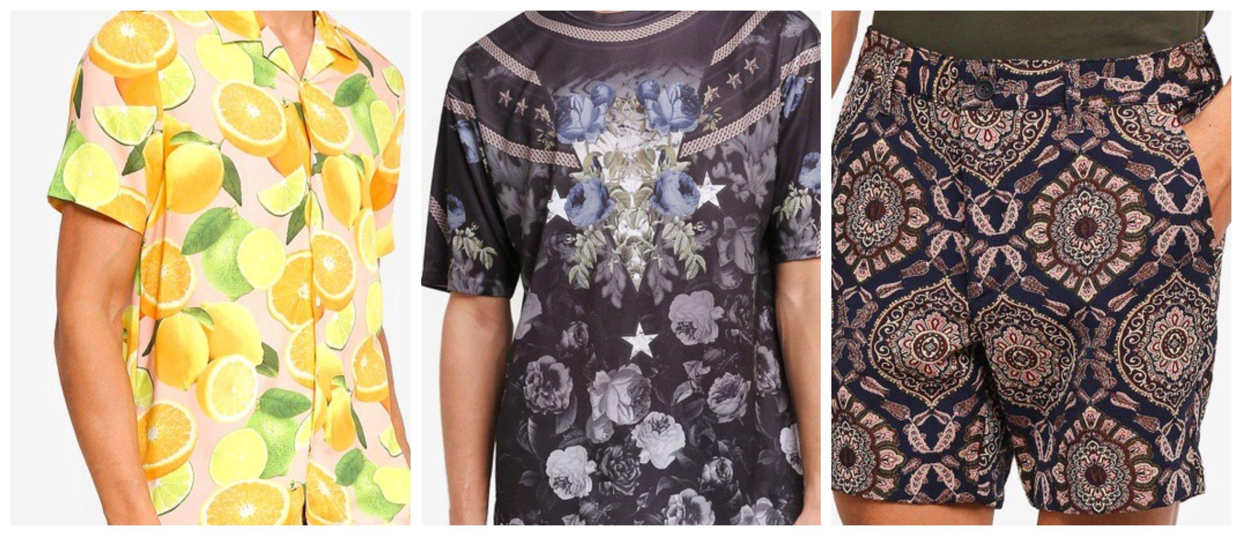 Pink Lemon Short Sleeve Shirt    Navy Floral Mesh T-Shirt     Tapestry Chino Shorts