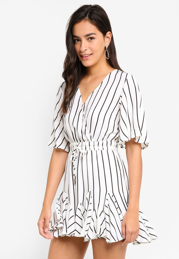 MDSCollections Striped Drawstring Ruffle Romper