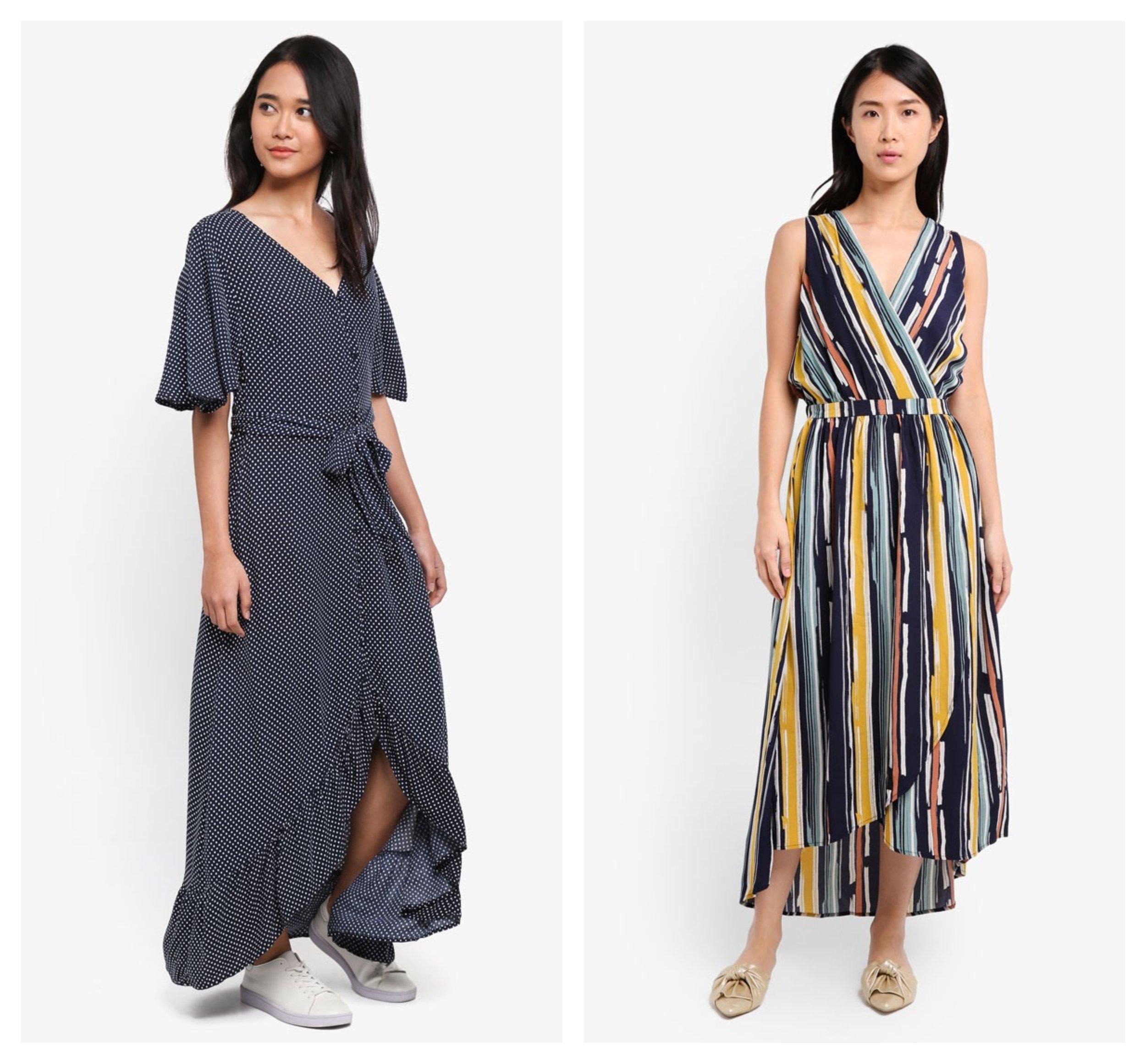 Cotton On Woven Dallas Cape Sleeve Maxi Dress   ZALORA Maxi Wrap Dress