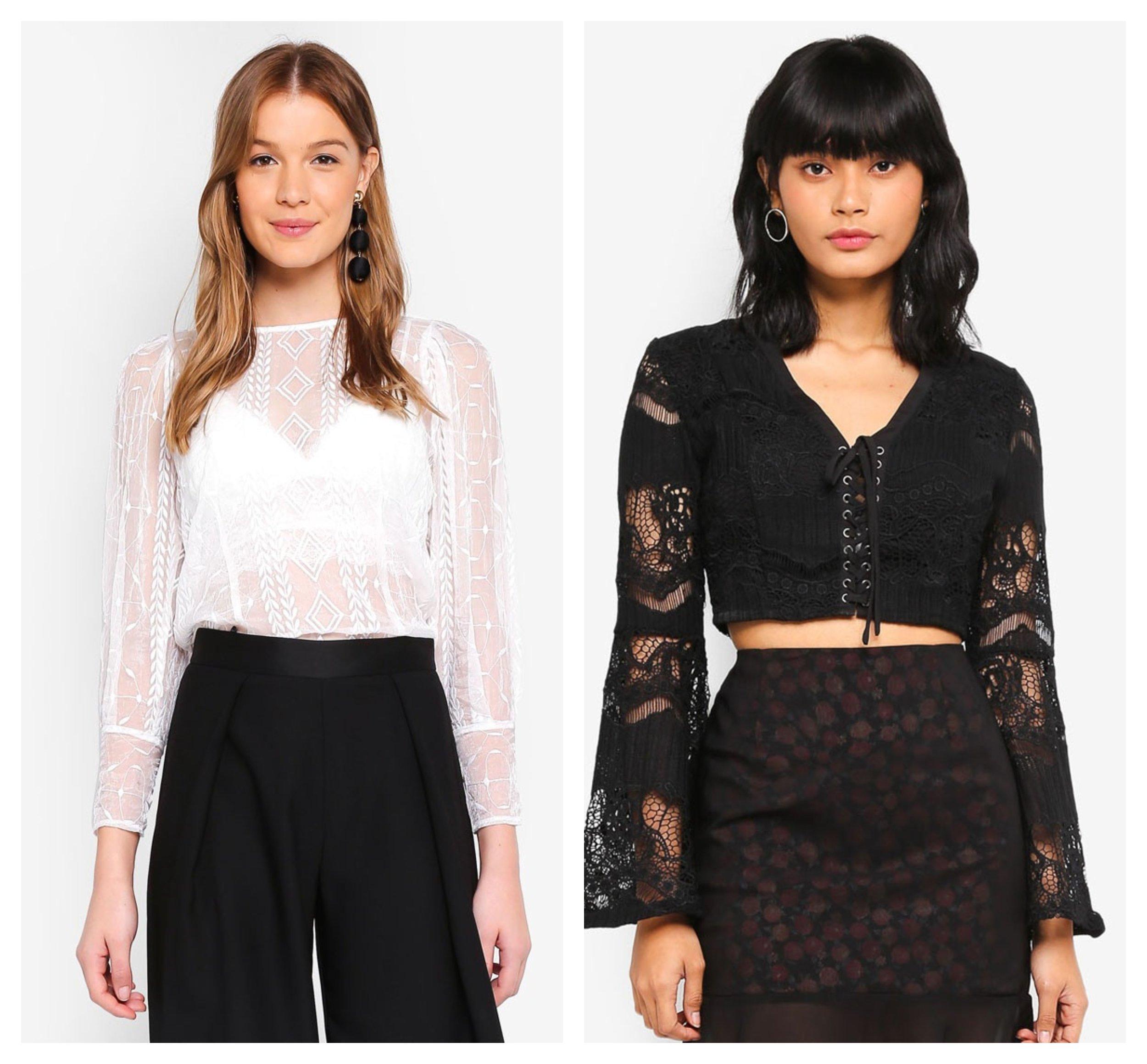 Angeleye Long Sleeve Lace Top     Something Borrowed Lace Flare Sleeve Crop Top