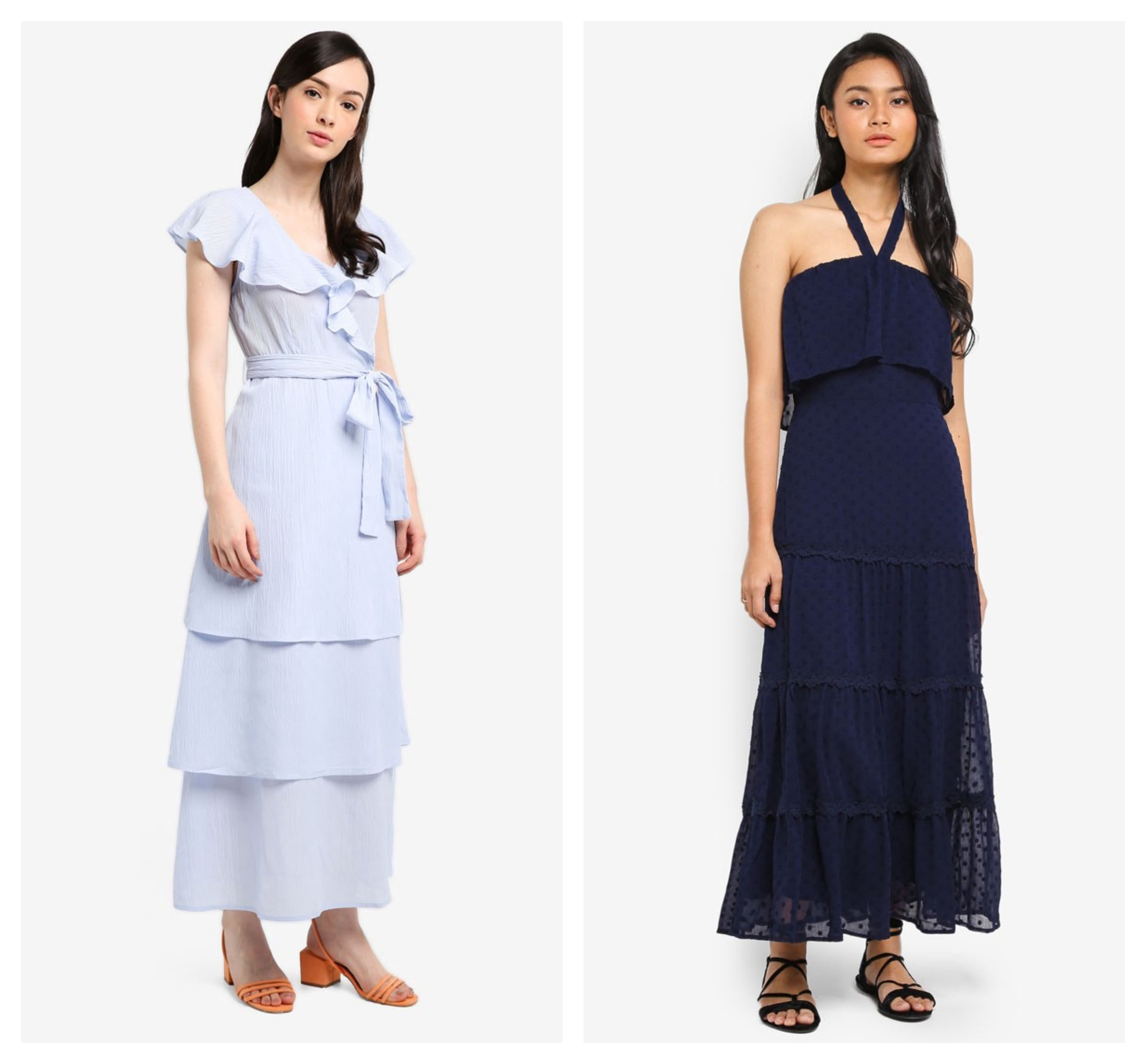 Lost Ink P Ruffle Neck Tiered Maxi   Preen & Proper Tiered HalterDress