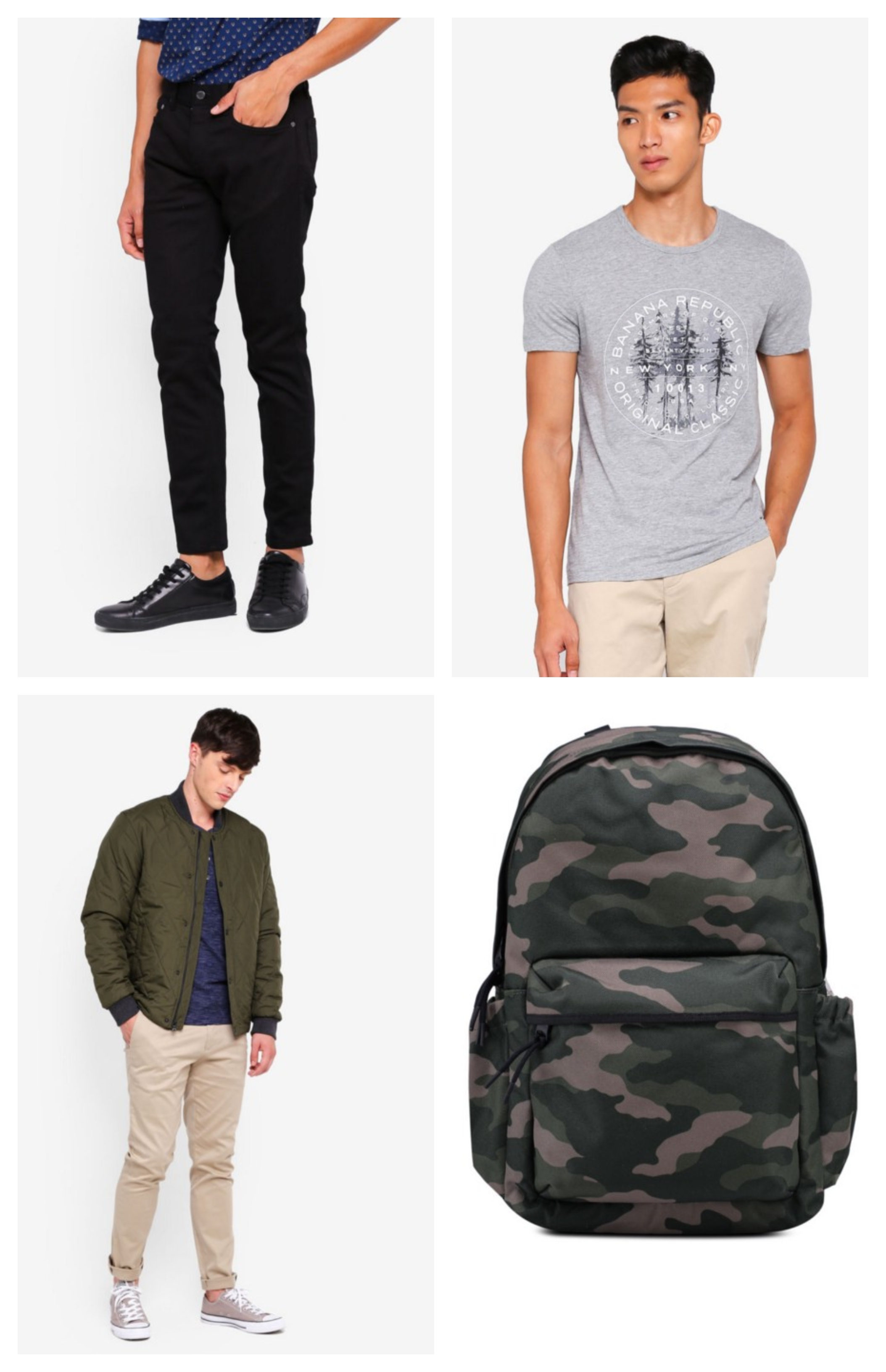 Clockwise from top left:  Skinny Traveler Pants  |  Vintage SlubTree Logo Tee  |  Camo Nylon Backpack  |  Quilted Bomber Jacket