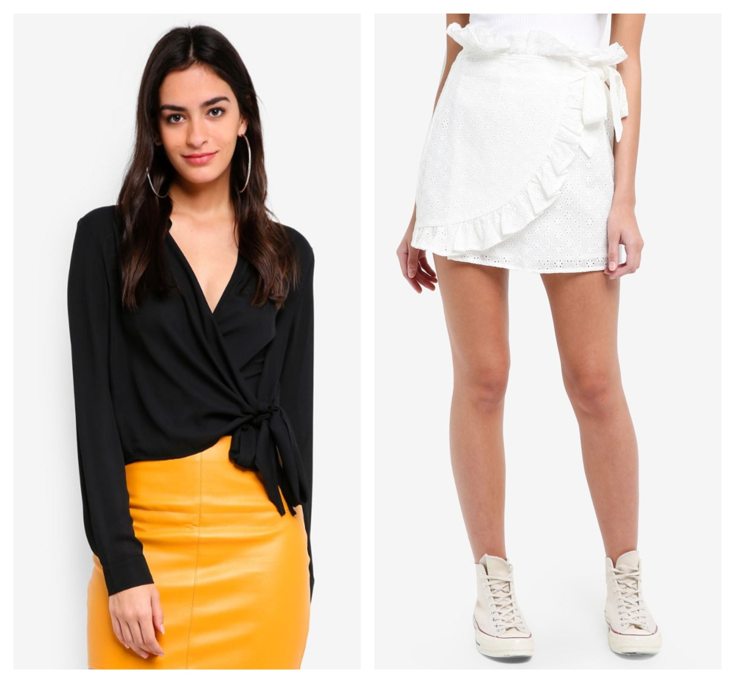 Missguided Wrap Over Tie Side Blouse  |  Lost Ink P Broderie Frill Mini Wrap Skirt