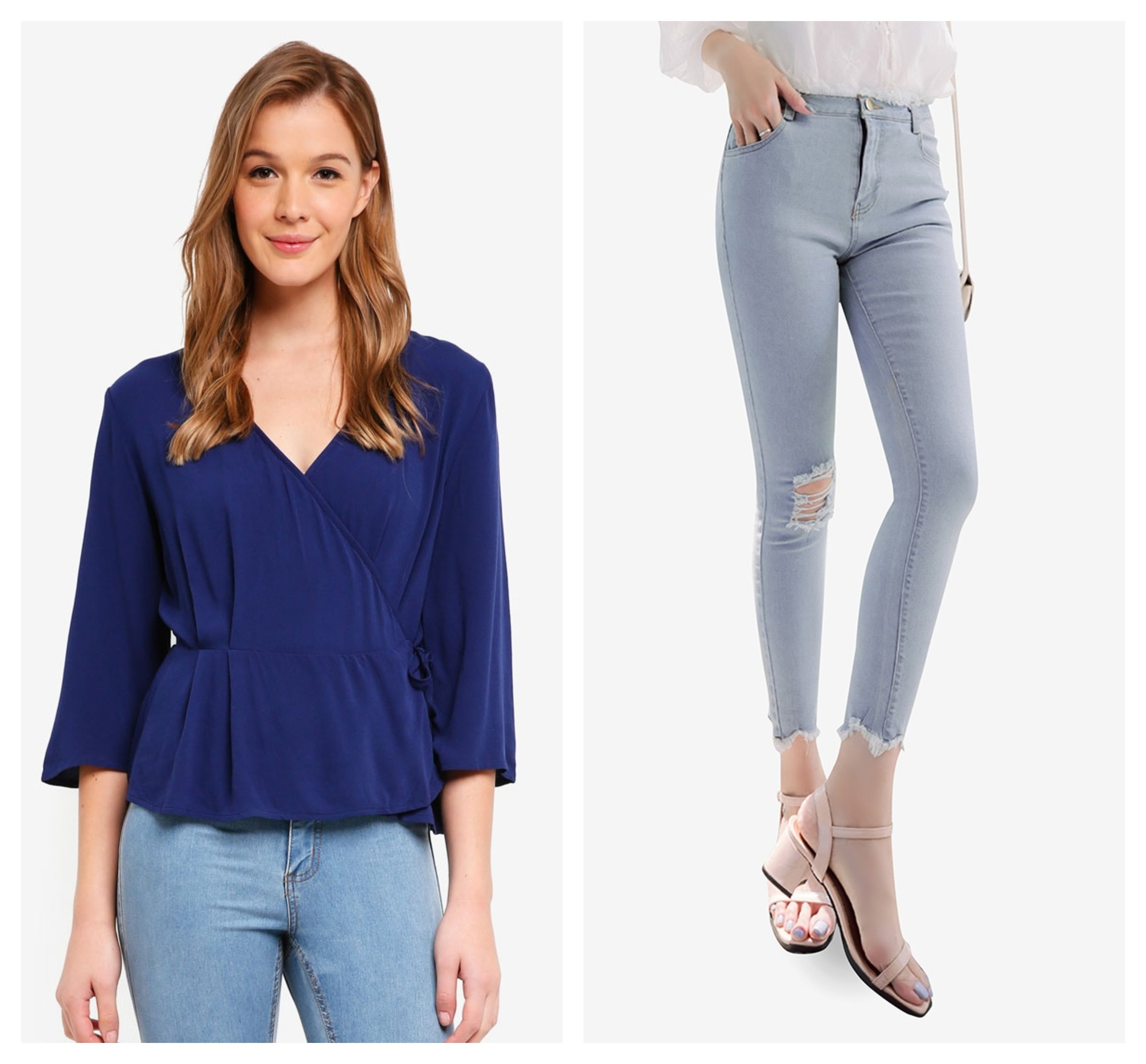 Cotton On Ruth Peplum Wrap Blouse  |  Eyescream Distressed Skinny Jeans