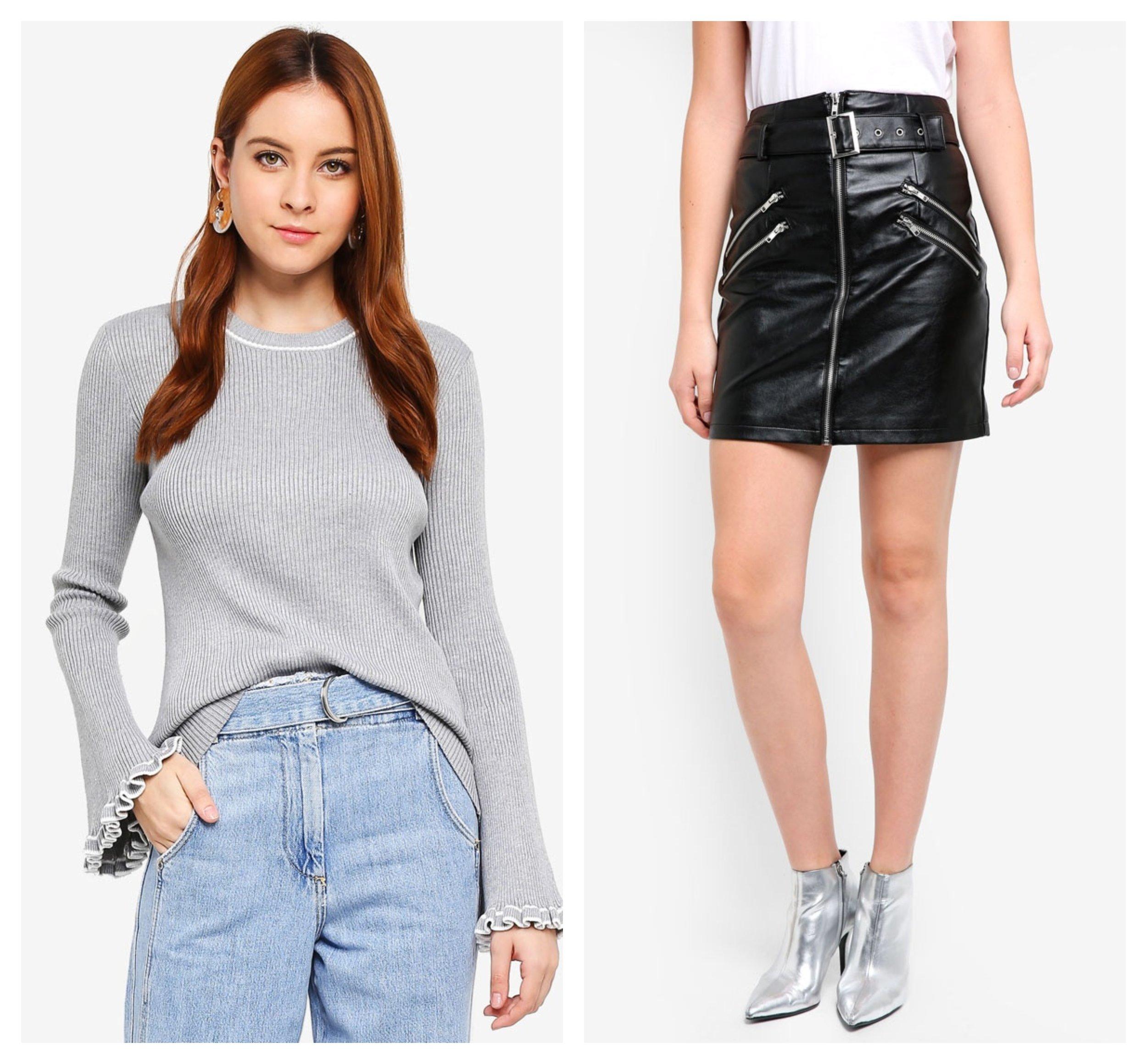 Zalia Knitted Flare Sleeves Top  |  Glamorous Faux Leather Mini Skirt