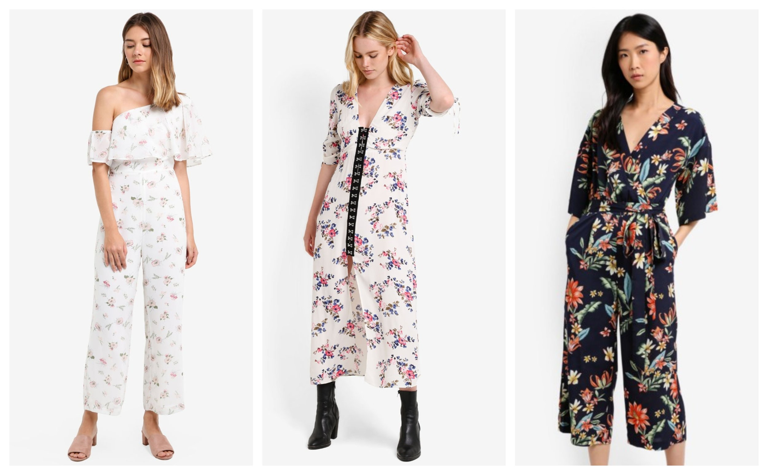 Preen & Proper Toga Floral Jumpsuit  |  Topshop Floral Hook & Eye Midi Dress  |  ZALORA Printed Wrapped Jumpsuit