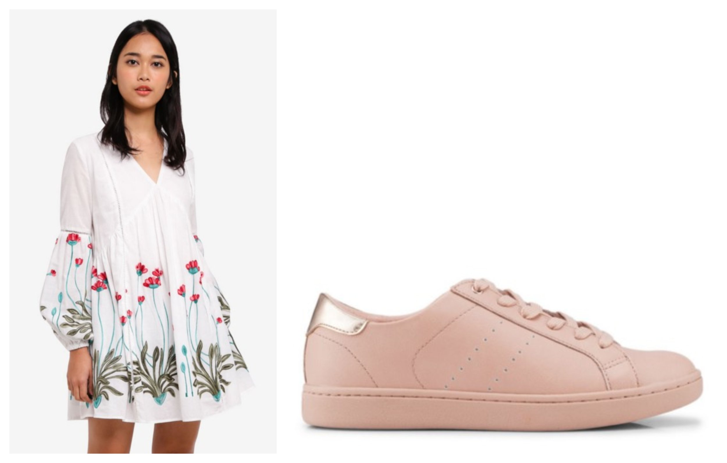 Something Borrowed Trim Detail Babydoll Dress  |  ALDO Legalidia Sneakers