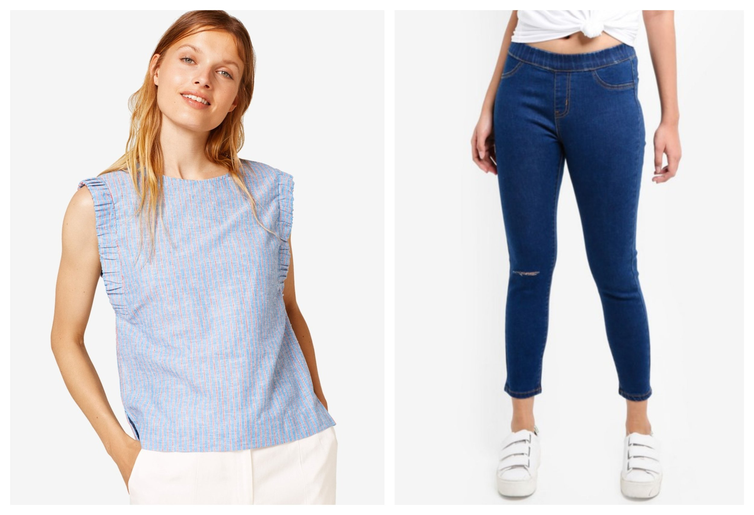 ESPRIT Woven Sleeveless Blouse  |  Something Borrowed Denim Jeggings