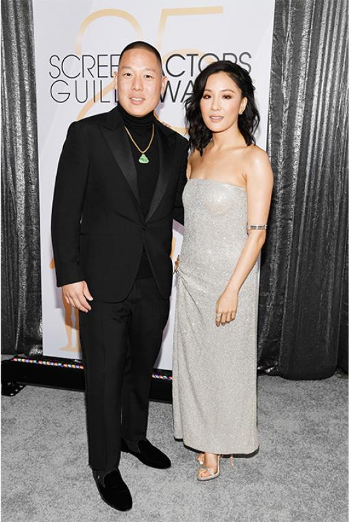 Eddie Huang & Constance Wu in Oscar de la Renta