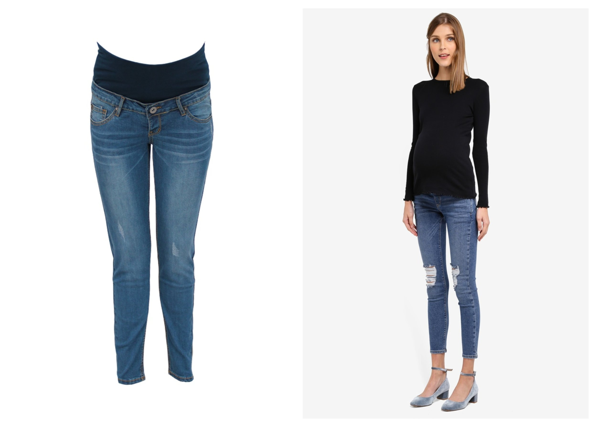 9months Blue Maternity Full Panel Skinny Jeans    ,    Topshop Maternity Rip Jamie Jeans