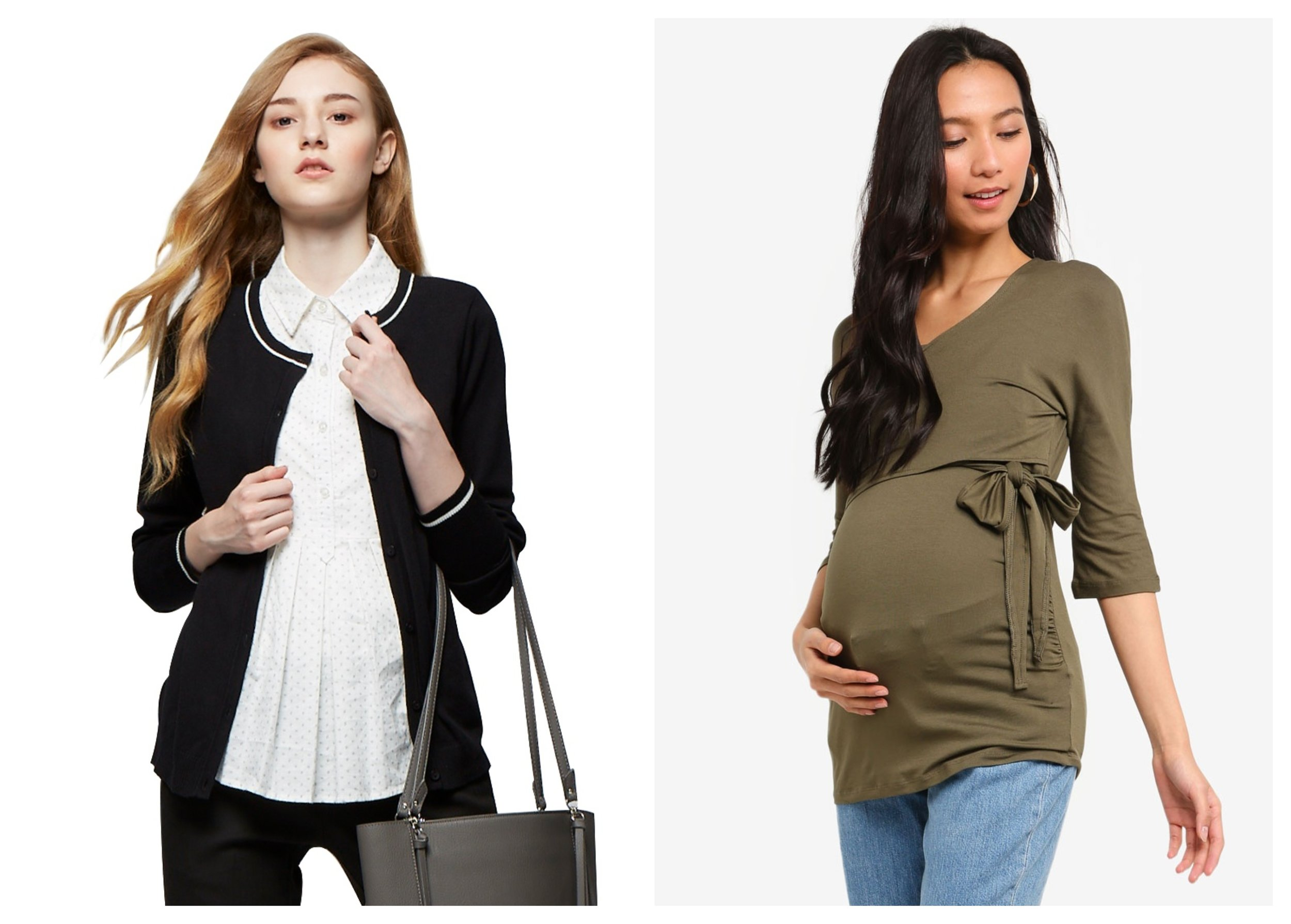 Mamaway 2 In 1 Maternity & Nursing Shirt With Cardigan    ,    Dorothy Perkins Maternity Khaki Ballet Wrap Nursing Top