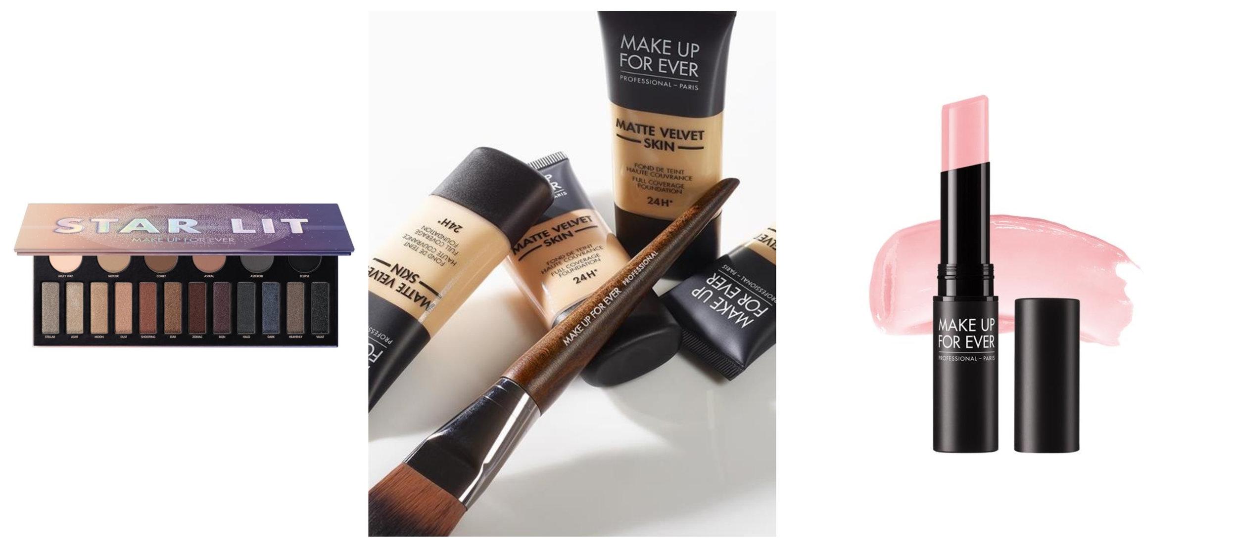 Make Up For Ever STAR LIT EYE SHADOW PALETTE H1 ,  Make Up For Ever Matte Velvet Skin Liquid Foundation Y245 Soft Sand ,  Make Up For Ever ARTIST HYDRABLOOM