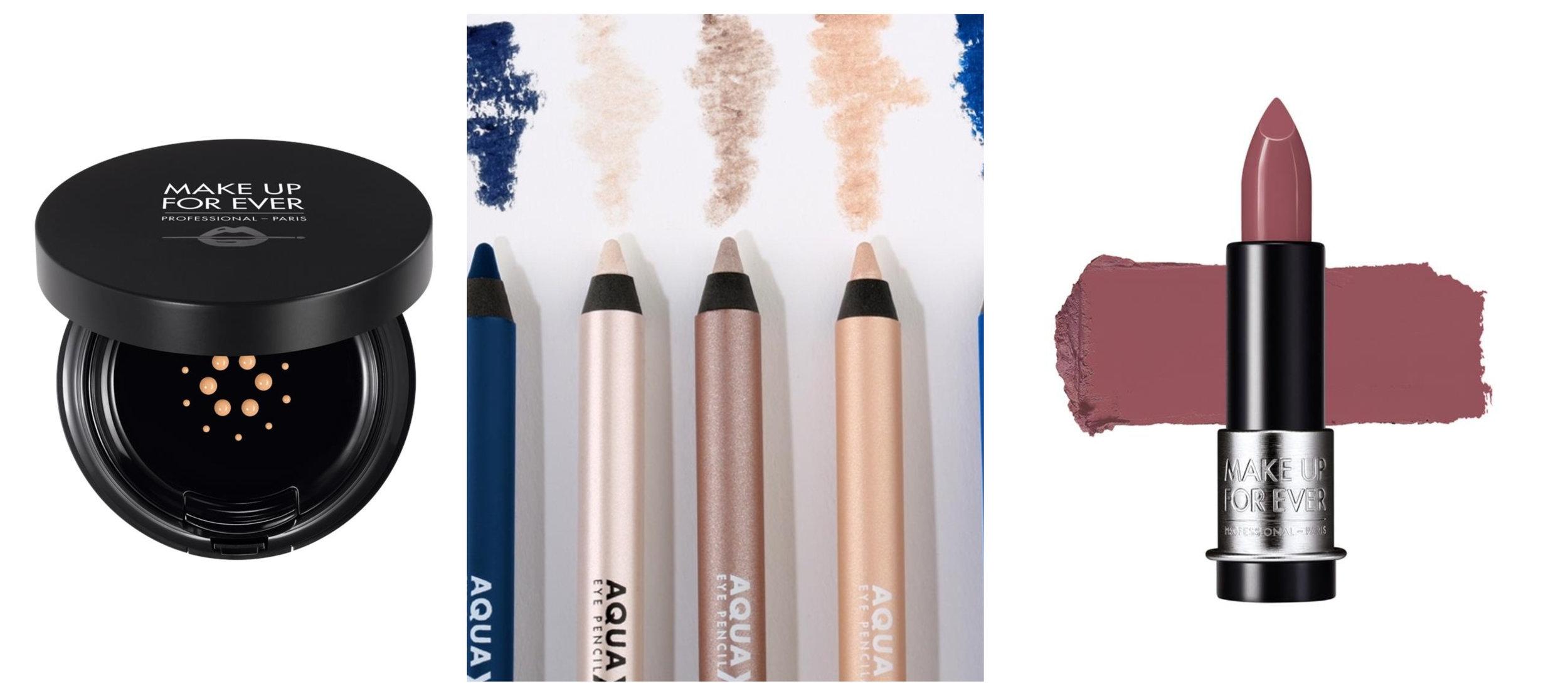 Make Up For Ever CUSHION LIGHT VELVET SPF50 - Y245 ,  Make Up For Ever AQUA XL EYE PENCIL - Waterproof Eyeliner - Waterproof Eyeliner 1,2G M-10 ,  Make Up For Ever LIPSTICK ARTIST ROUGE MAT - Matte High Pigmented Lipstick 3,5g M206