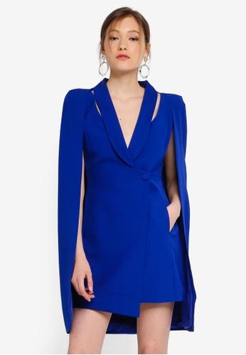 Lavish Alice Cut Out Shoulder Detail Cape Blazer Mini Dress