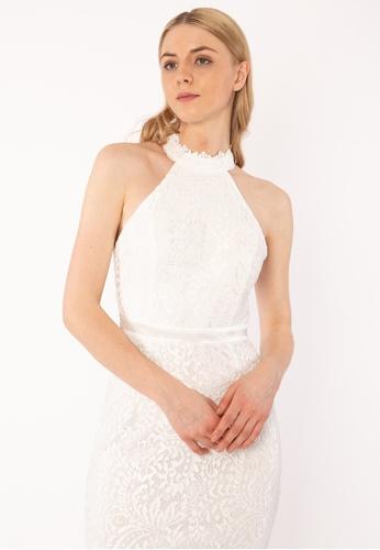 Bebe Beige Halter Neck Lace Dress