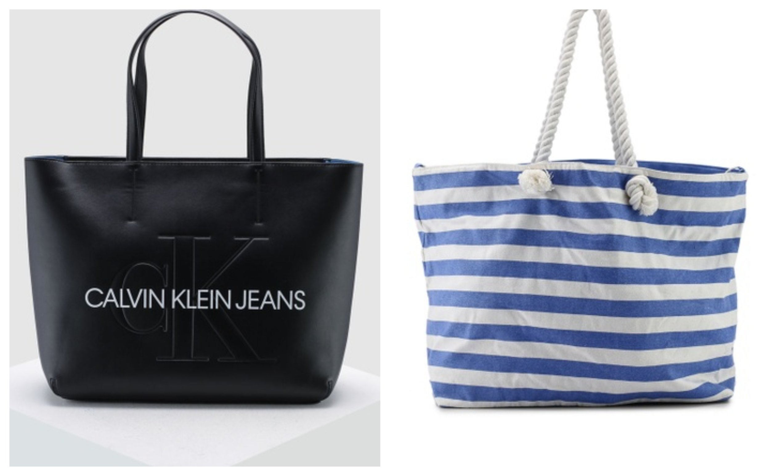 Calvin Klein Brand Print Tote Bag and OVS Stripe Beach Bag