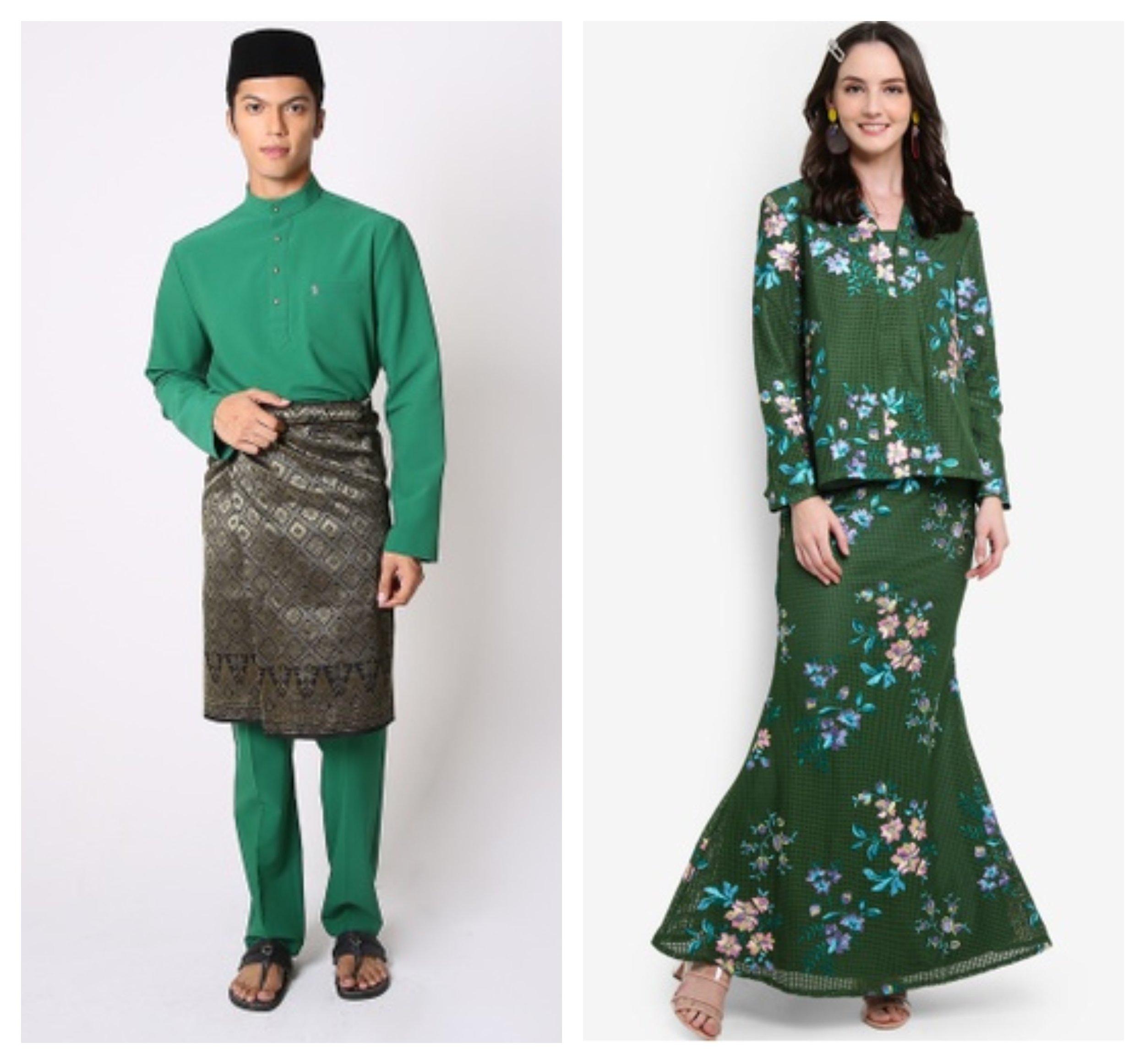 Jovian Men Farhan Modern Baju Melayu In Emerald Green  &  Lubna Waffle Lace Kebaya Set