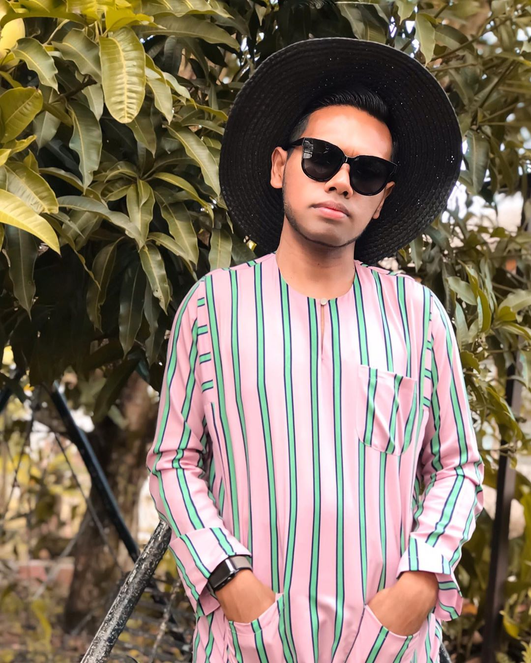 @izz.darus wearing  Multi-Stripe Baju Melayu Teluk Belanga