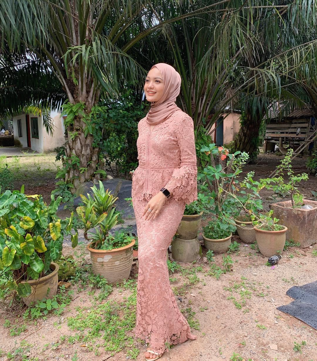 @nigeena in  Flare Sleeves Lace Kebaya With Trimming