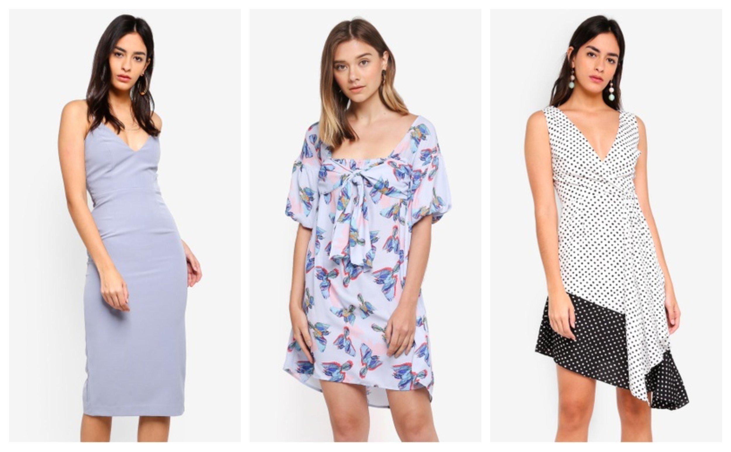Bardot Open Back Dress; Lost Ink Bubble Sleeve Shift In Bird Print; Lavish Alice Contrast Spot Flounce Hem Midi Dress