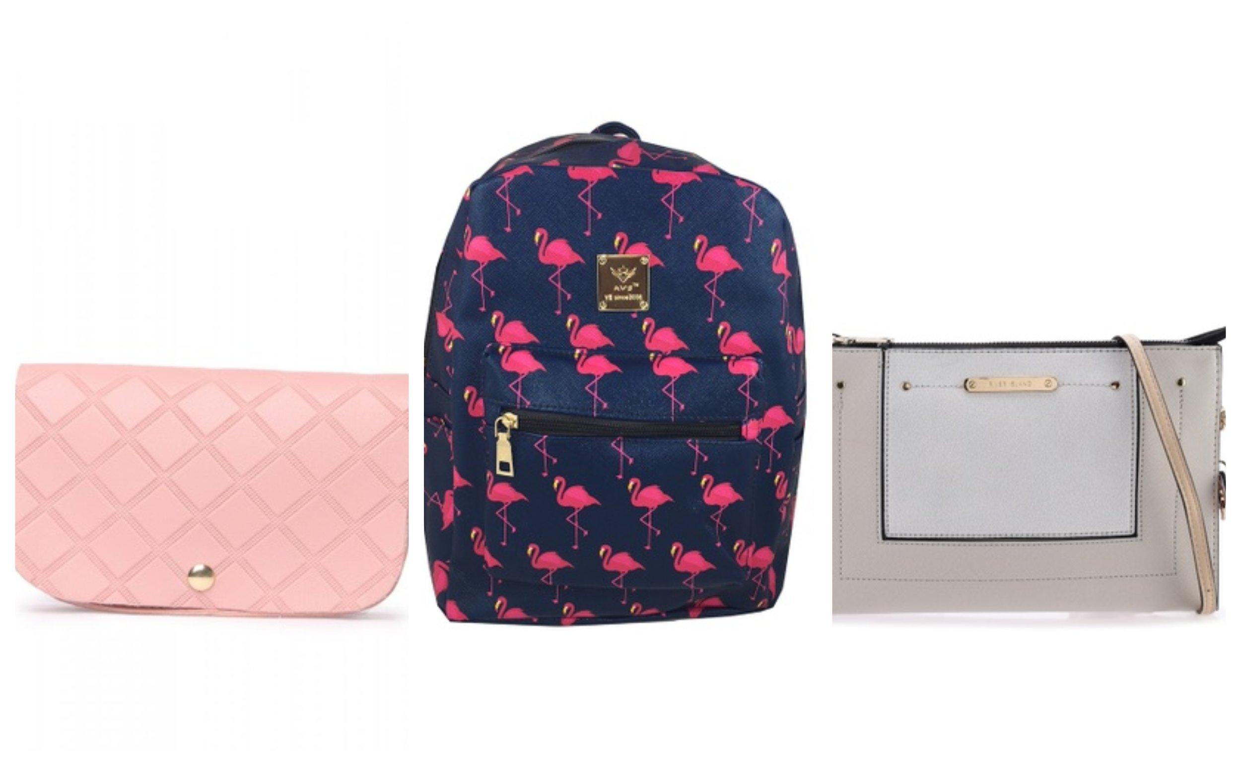 AR by Alfio Raldo Diamond Checkered Sling Bag; TCWK Women Blue Backpack; River Island Crossbody Pochette