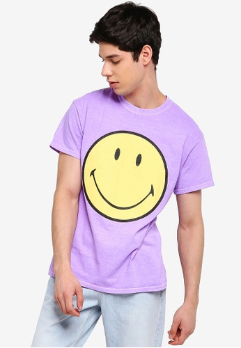 Topman Washed Lilac 'Smiley' T-Shirt