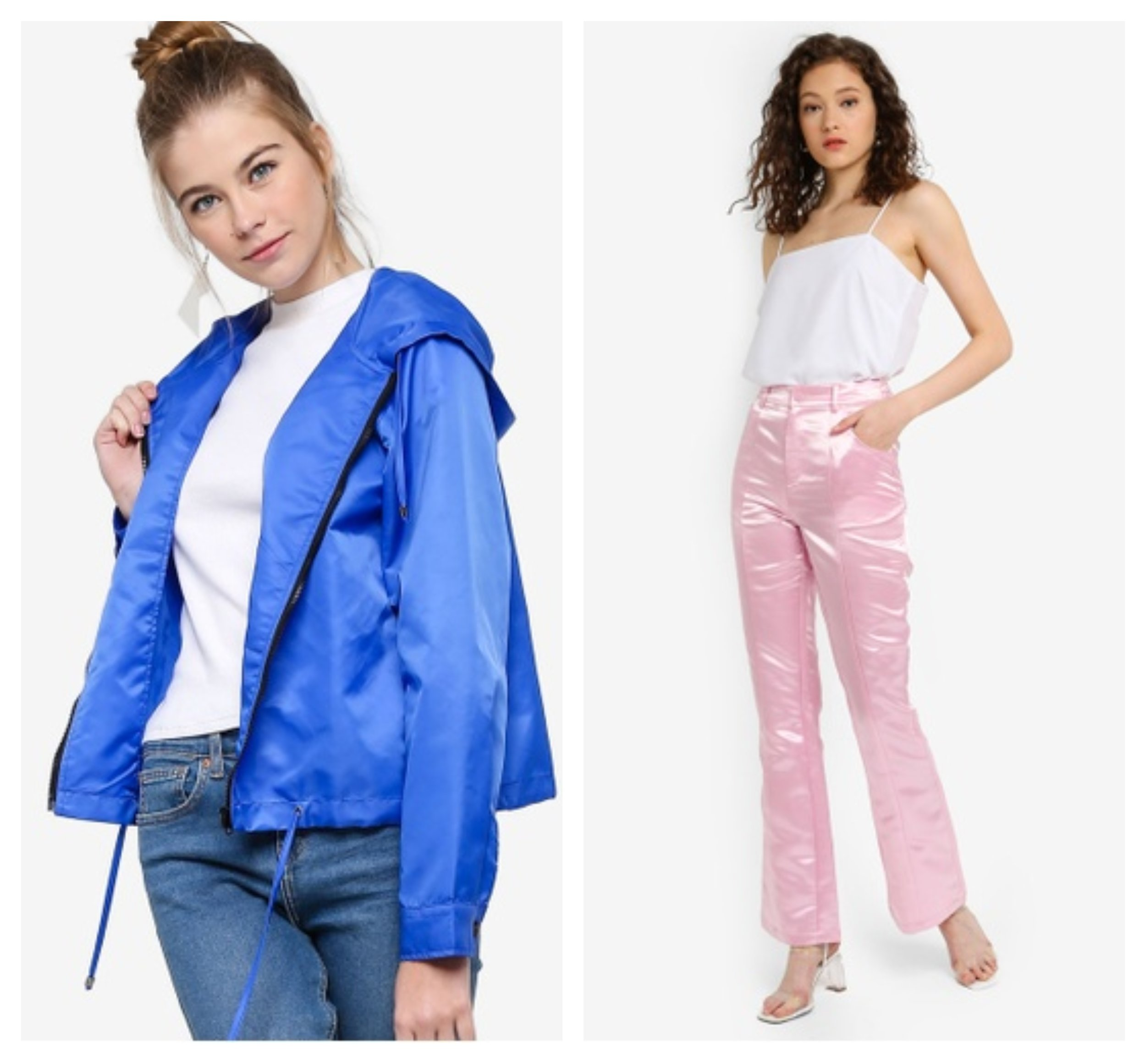 Something Borrowed Contrast Trim Lightweight Jacket  &  NA-KD Shiny Bootcut Pants