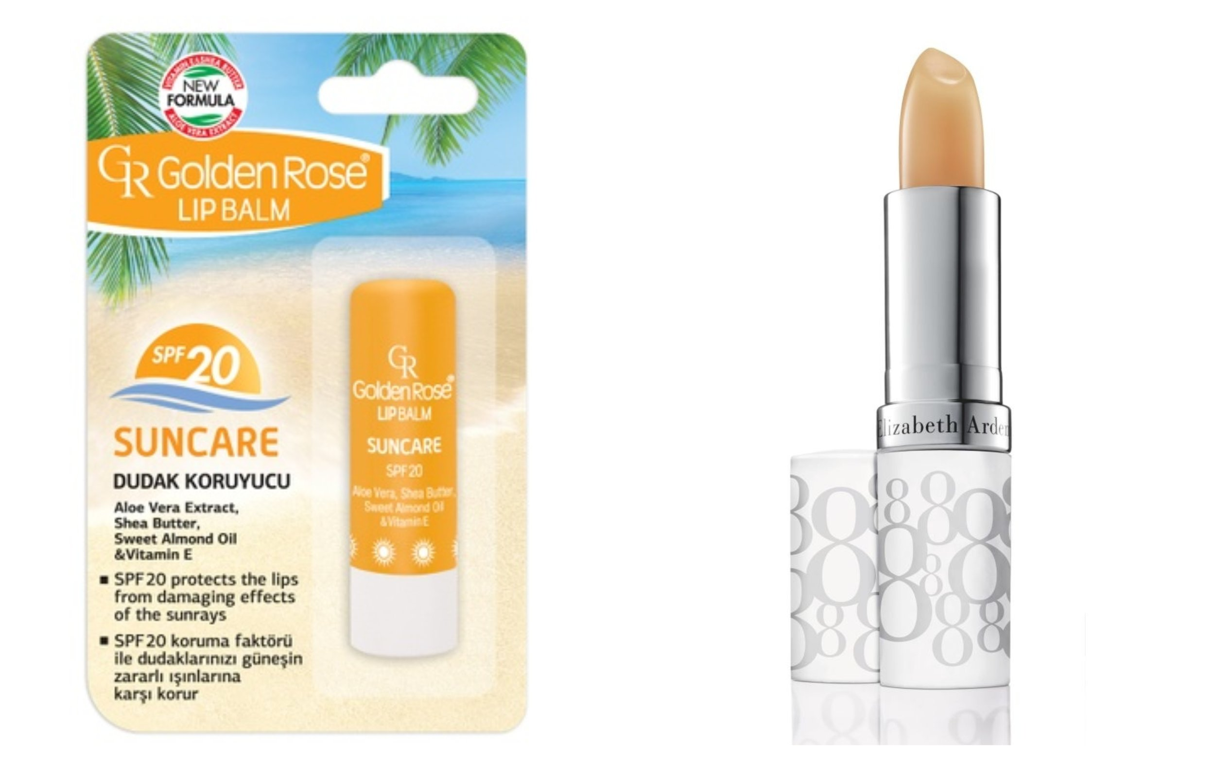 Golden Rose Lip Balm - Suncare SPF 20   ,    Elizabeth Arden Eight Hour Cream Lip Protectant Stick SPF 15