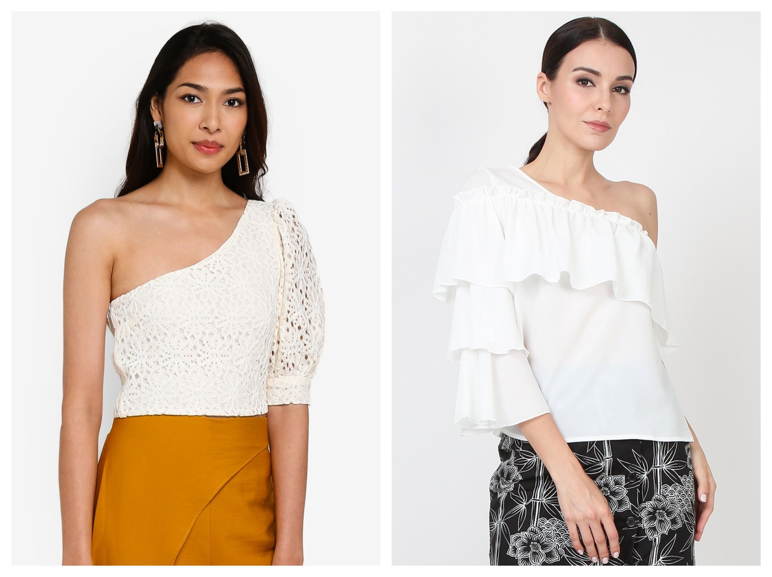 Topshop Lace One Shoulder Puff Sleeve Top   ,    Lowela Lace One Shoulder Puff Sleeve Top