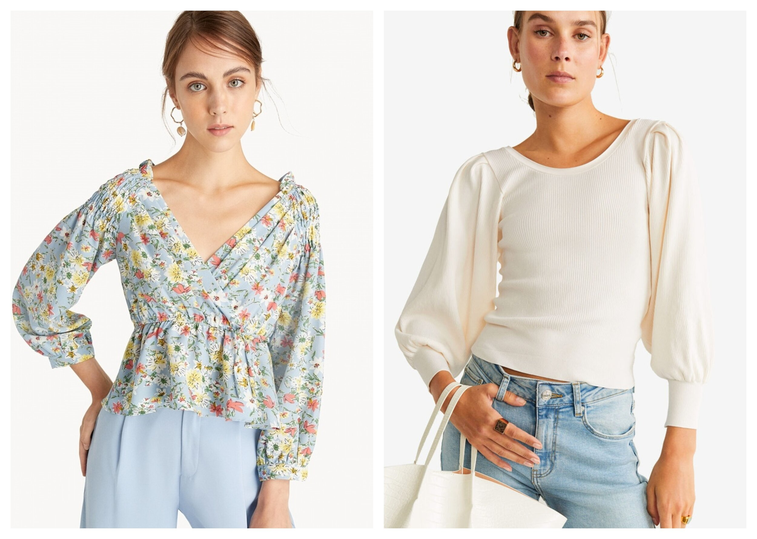 Pomelo Floral Puffed Sleeve Peplum Top – Blue   ,    Mango Puffed Sleeves Ribbed Top