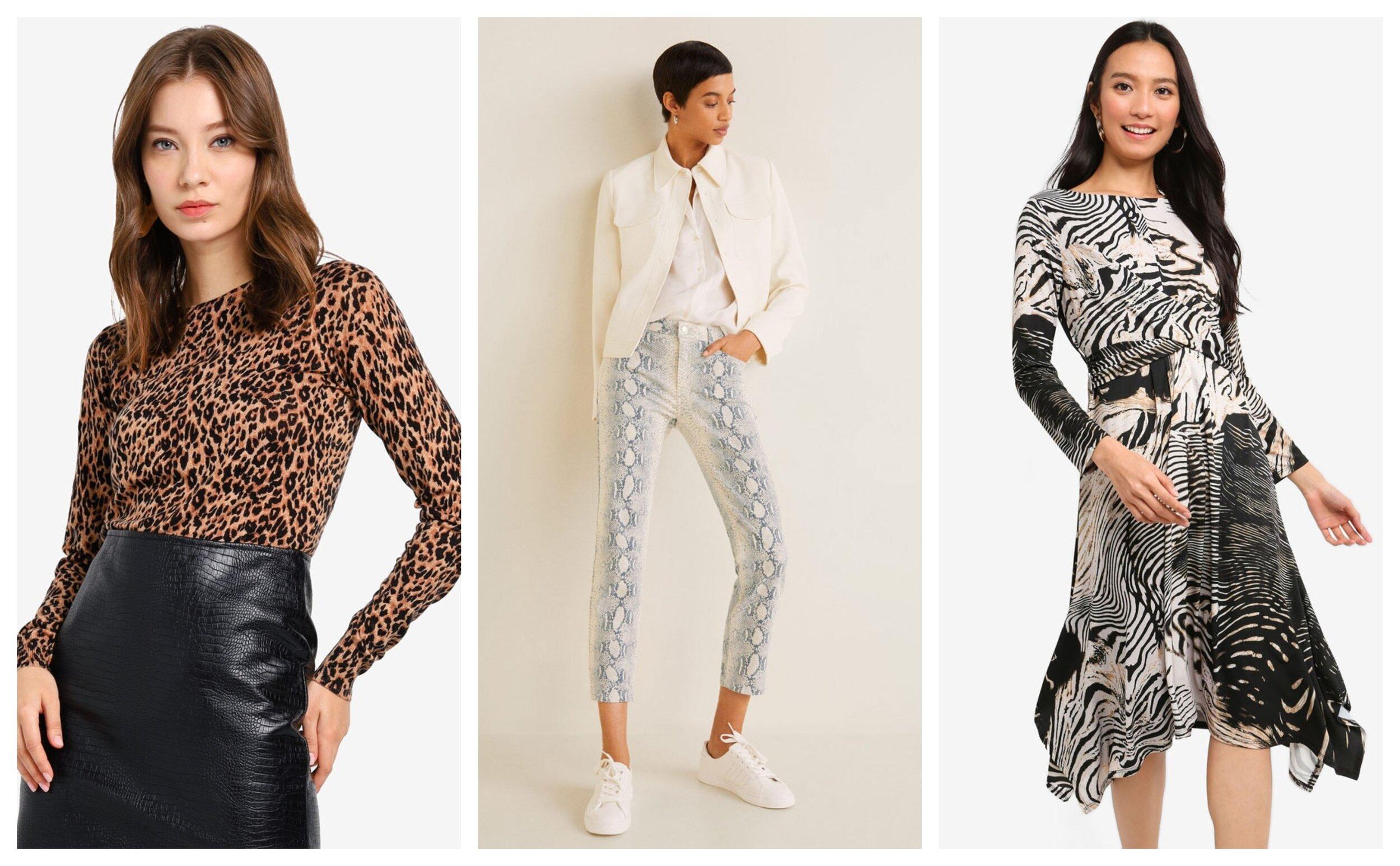 Warehouse Animal Print Crew Jumper   ,    Mango Animal Print Jeans   ,    Wallis Petite Stone Animal Print Twist Front Dress