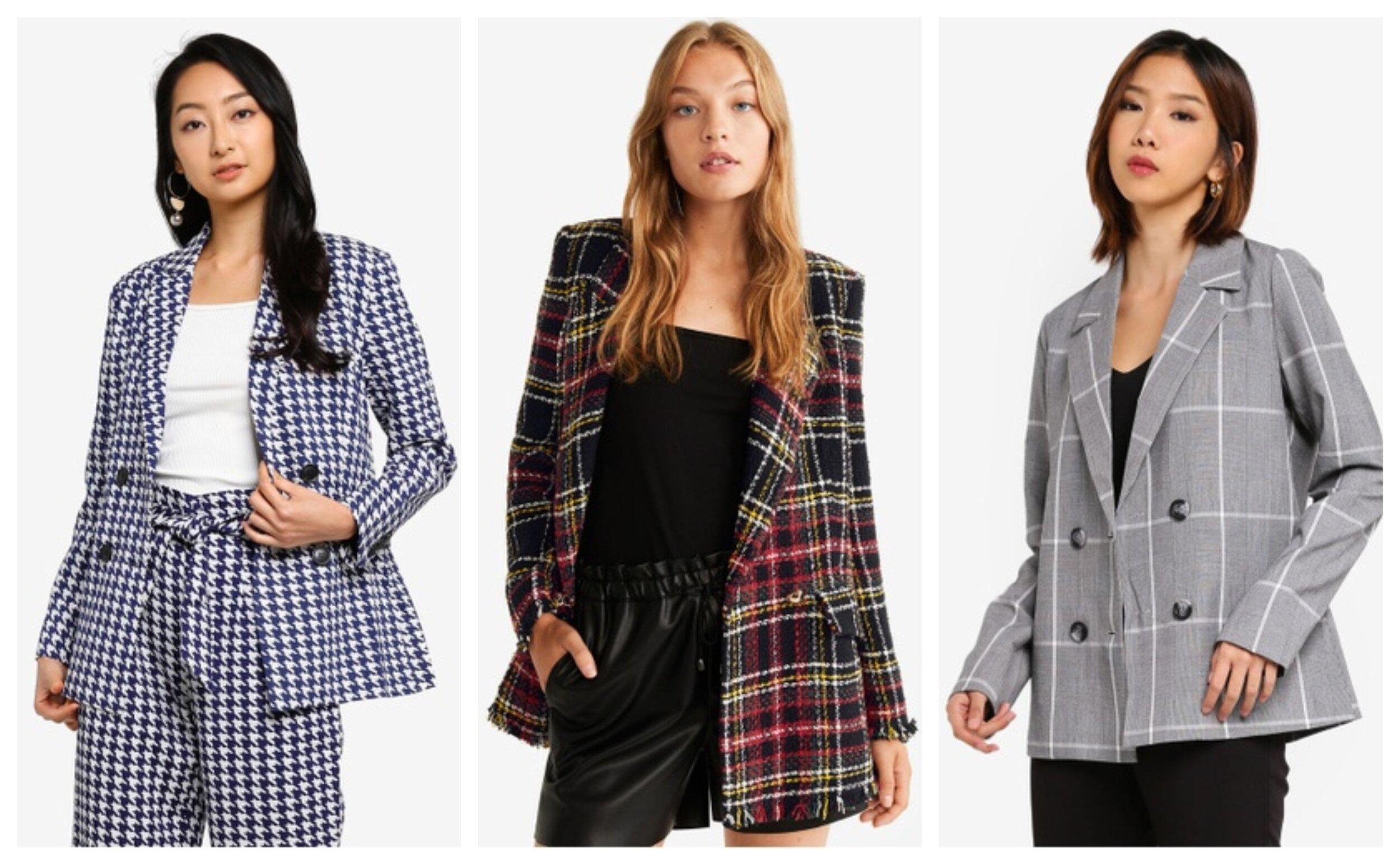 JACQUELINE de YONG Misty Blazer, Mango Buttons Tweed Blazer, NA-KD Checkered Oversized Blazer .